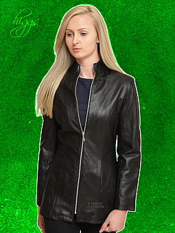 Higgs Leathers ALL SOLD!  Orzora (ladies long Black Leather jacket)